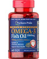"""שמן דגים טריפל אומגה 3, 1360 מ""""ג (950 מ""""ג אומגה 3 אקטיבי)"""